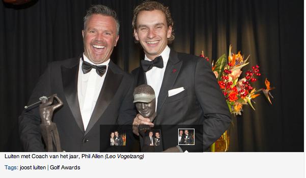 Golfer of the year Luiten met Coach van het jaar, Phil Allen Golf art sculptures Tosca van Oorschot